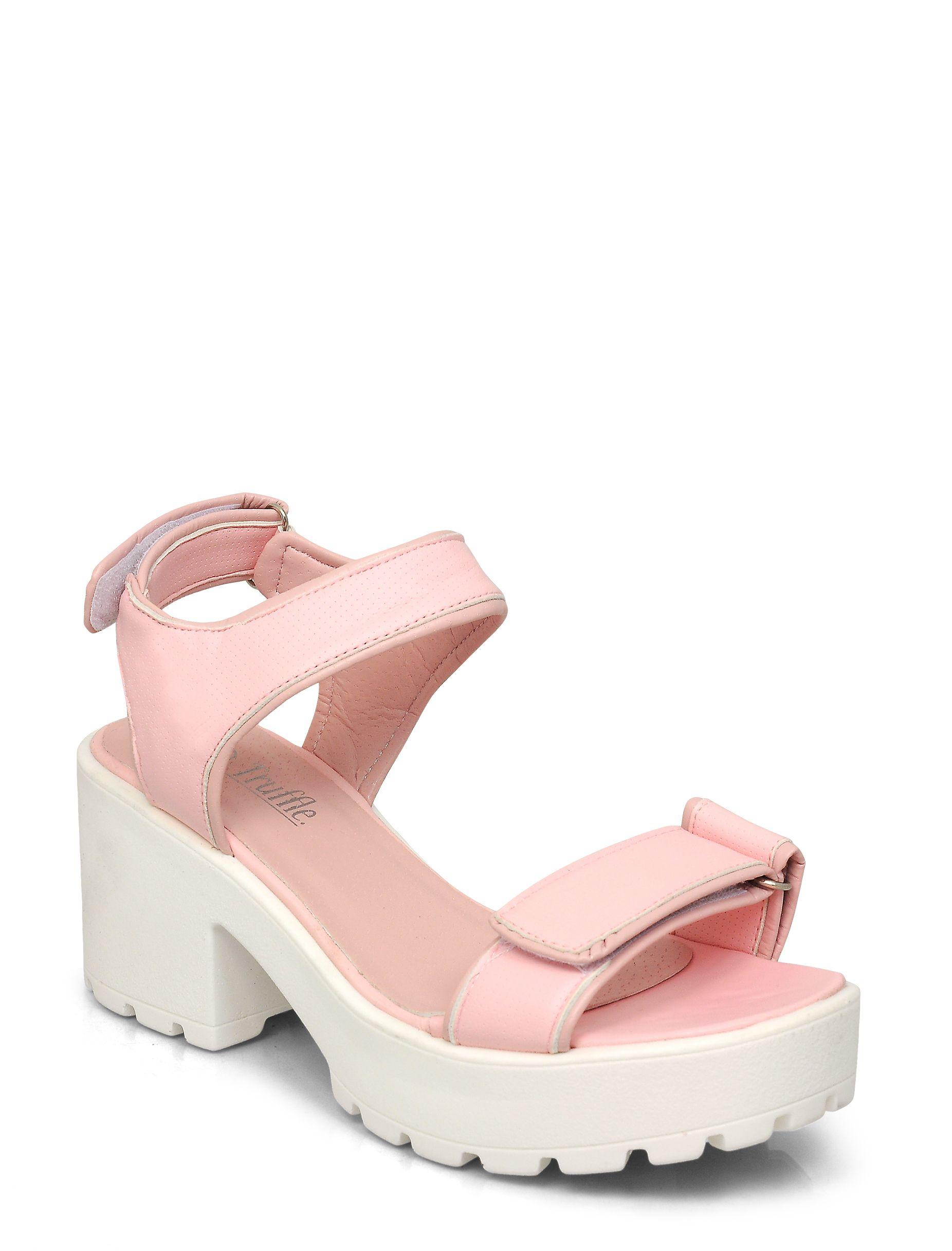 Women's Fashion Clothing, Shoes and Accessories | Shop online | La Moda | Light Pink Velcro Platform Sandal