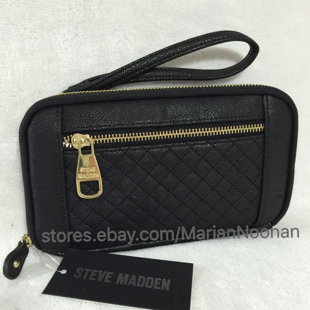 ef3ca0c05a3 NEW Steve Madden Large Zip Around Wallet Wristlet Black BMagnolia # SteveMadden #ZipAroundWithWristStrap