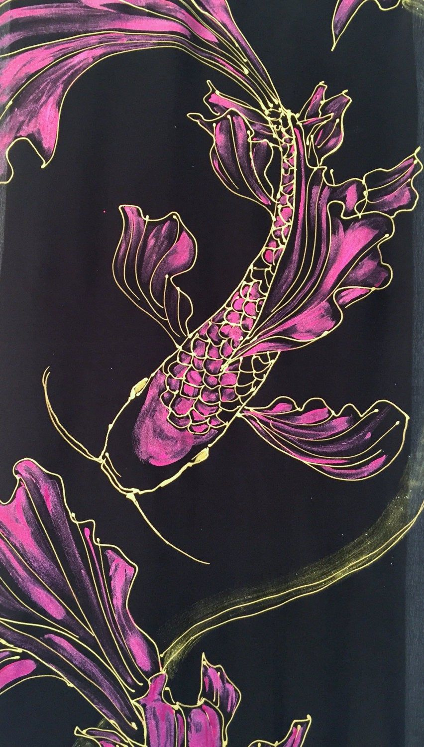 Black Silk Scarf Handpainted, Pink and Gold Koi Scarf, Gift for her, Japanese Scarf, Silk Scarves Takuyo, 14x72 inches. Made to order.