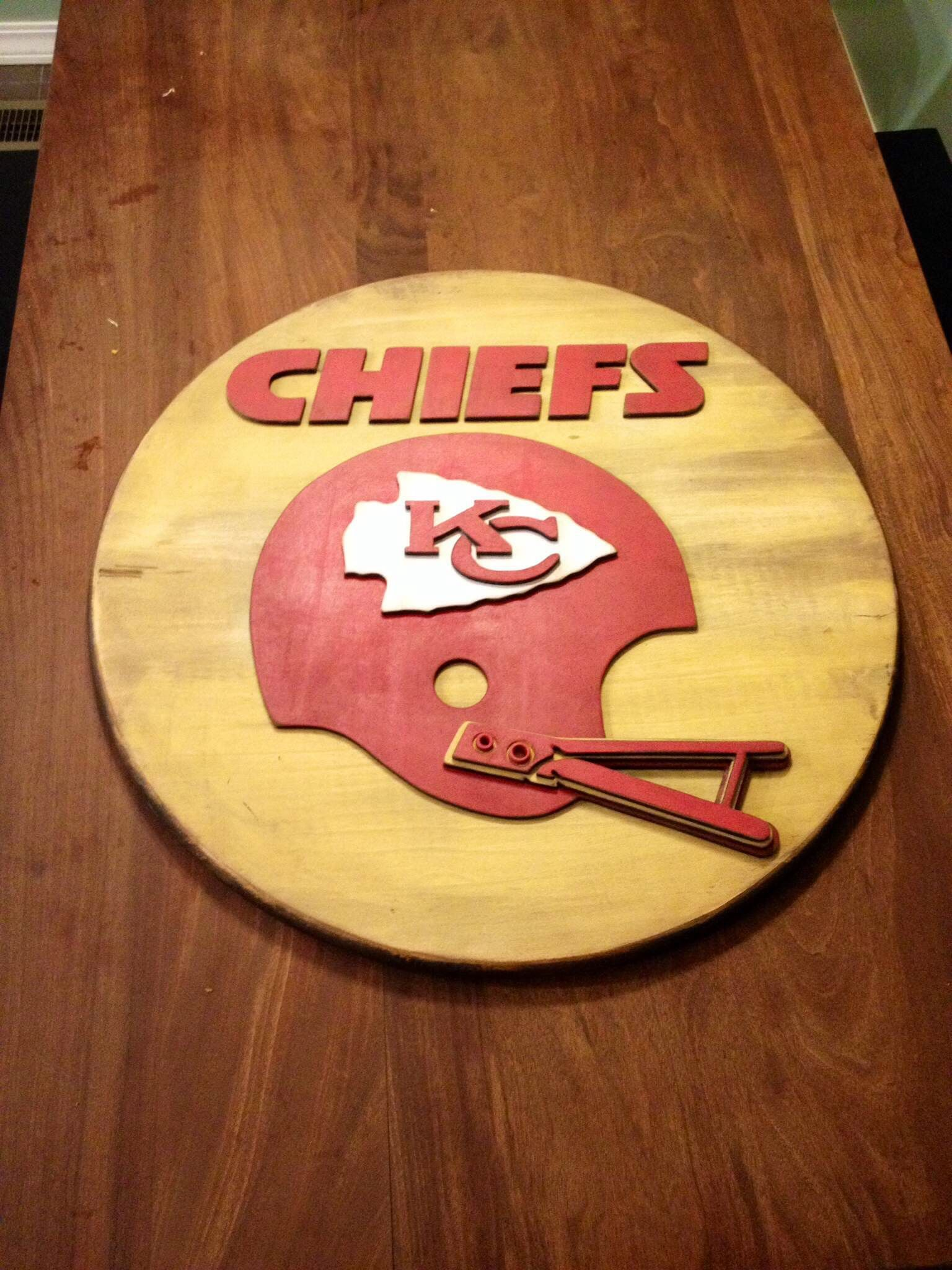 3-D wood sign. Kansas City Chiefs wood sign. KC Chiefs sports sign ...