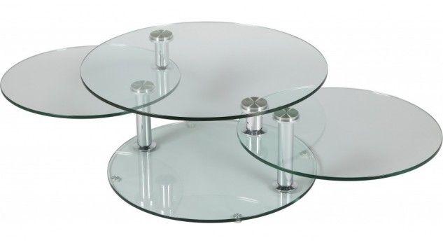 Table Basse En Verre Ronde Design 3 Plateaux Pivotants Table Basse Verre Table Basse Verre Trempe Verre Rond