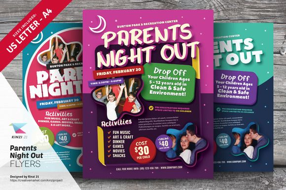 parents night out flyer templates by kinzi21 on