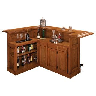 Classic Large Oak Bar with Side Bar | Overstock.com Shopping - Big Discounts on Hillsdale Bars