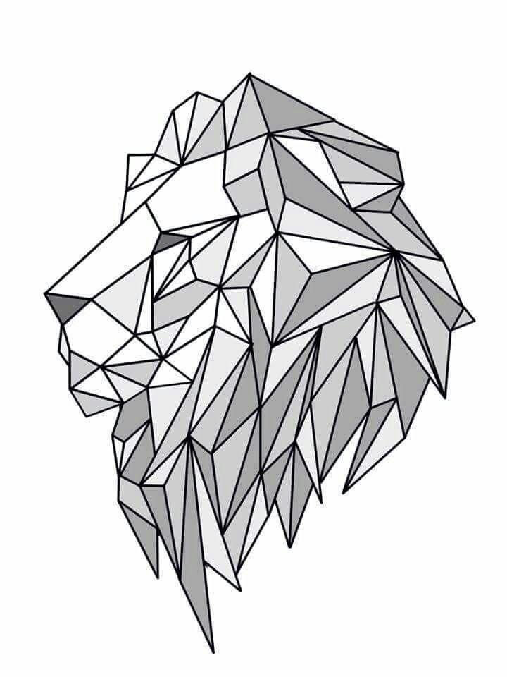 Geometric Line Art Animals : Lion geometric create by june pur another pinterest