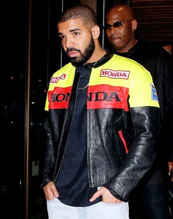 1fb679474820 Musician Drake Motorbiker leather Jacket in 2019