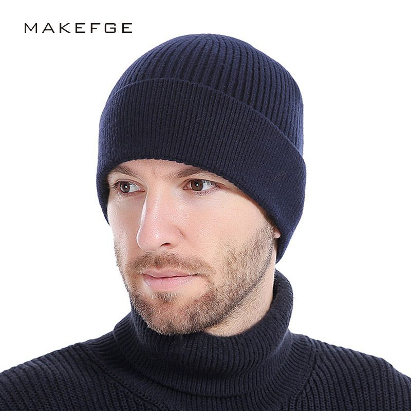 2147d09feeb Wool Beanies Knit Men s Winter Hat Caps Skullies Bonnet Winter Hats For Men  Women Beanie Warm Baggy Outdoor Sports Hat Fleece