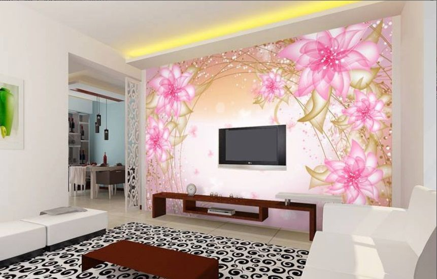 Beautiful Lcd Cabinet Pink Wall Sticker Design Id845   Lcd Cabinet Wall  Designs   Wall Designs