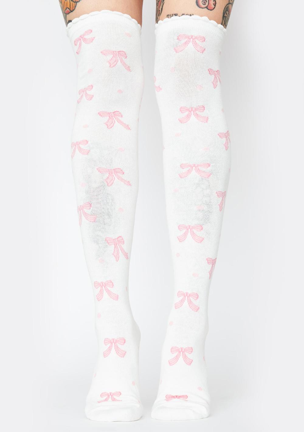 Details about  /Lolita Ribbon Stockings Harajuku Japanese Kawaii Accessory Cute Knee High Socks
