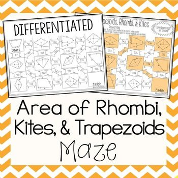 Area of Trapezoids, Rhombi, and Kites Maze | Geometry ...
