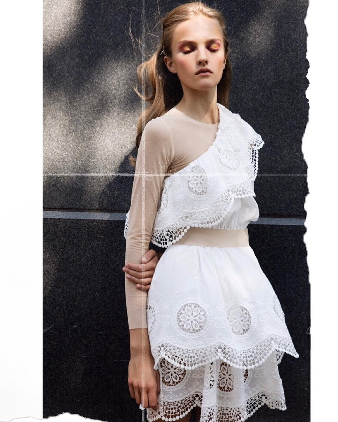 """79d143c04 Designers Remix on Instagram: """"Josefine dazes in the sun wearing Dane  Off-shoulders Dress with handmade broderie anglais lace details in organic  cotton ..."""