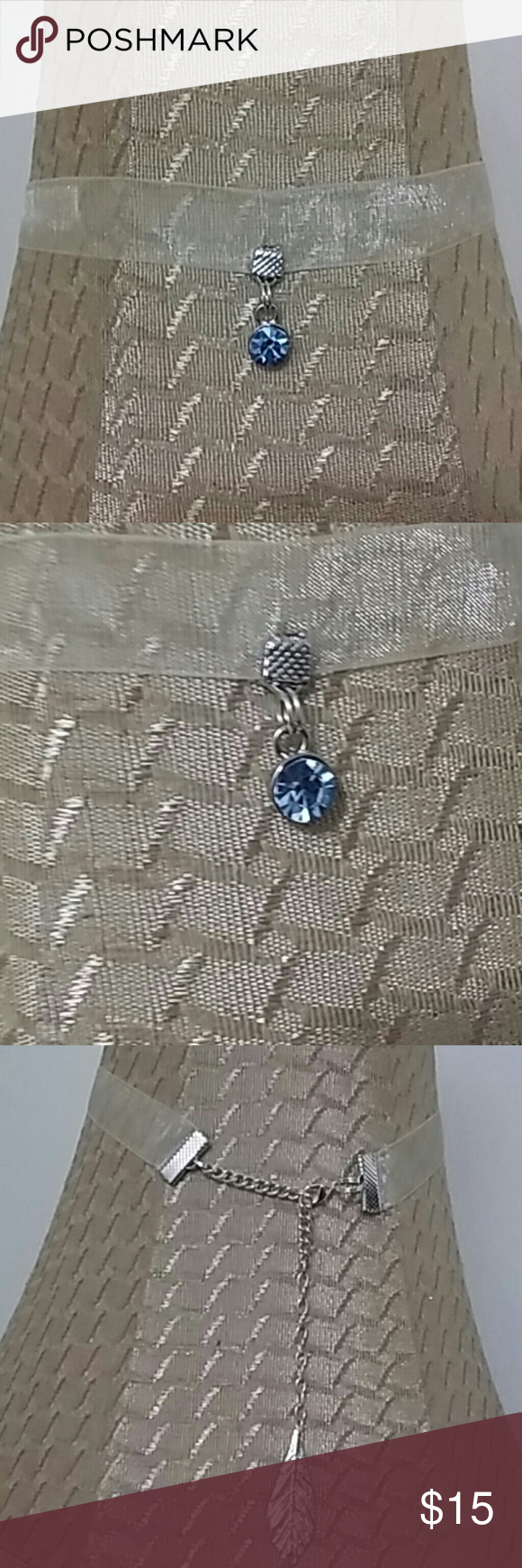 """Sheer Ribbon Choker Simulated London BLUE TOPAZ Pendant. ~ 3"""" inch exstender~Lobster claw clasp. One of a kind. ~FINAL PRICE is $15.00. Poetry in Motion Jewelry Necklaces"""