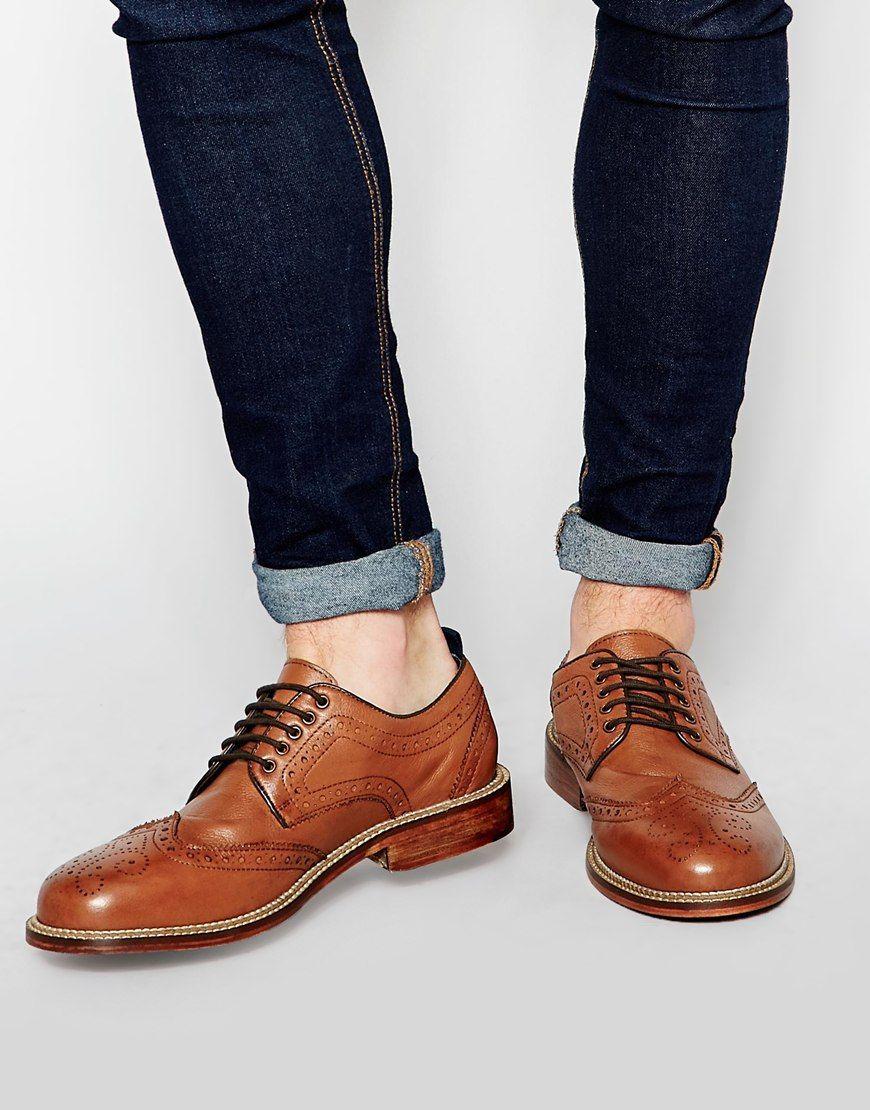de cuero Zapatos Oxford ASOS de en tostado q6Z7X1