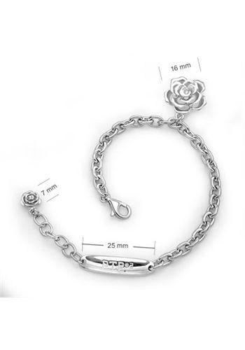 Lovely Rose – Platinum Plated Silver Bracelet