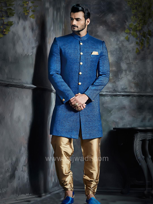 Blue dupion silk indo western sherwani with buttons rajwadi