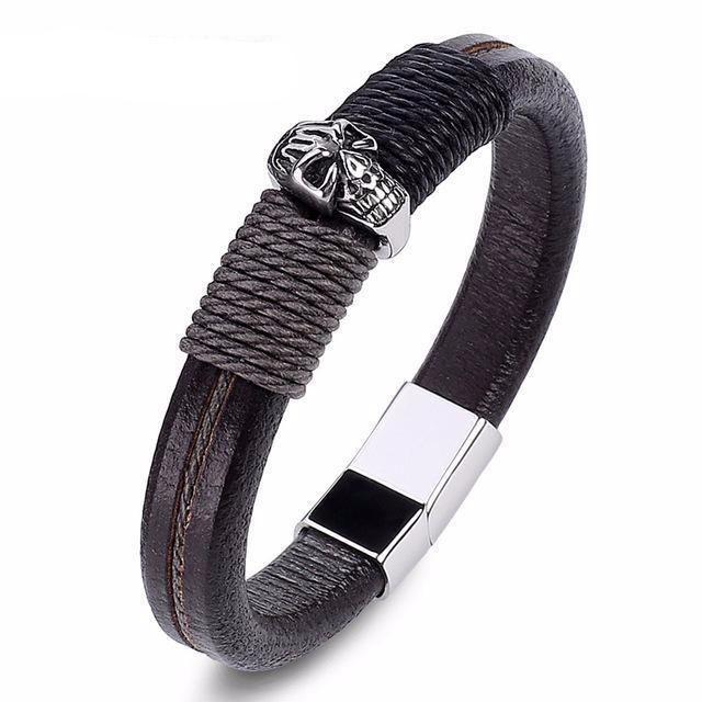 Charm Skull Brown Leather Rope Braided Bracelet