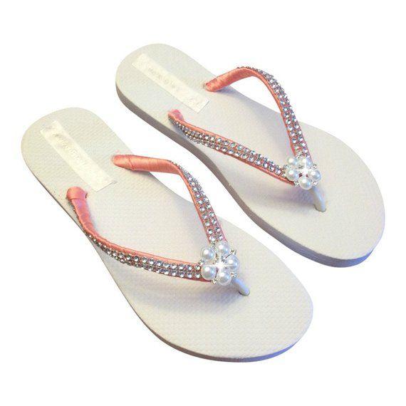 4e47cfae037d00 Coral Bridal Flip Flops