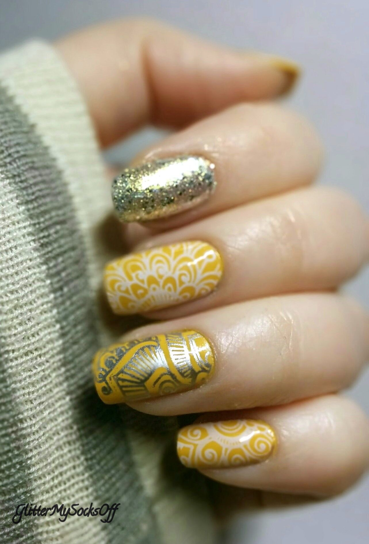 Mustard nails with nail art in silver and white stamping ...