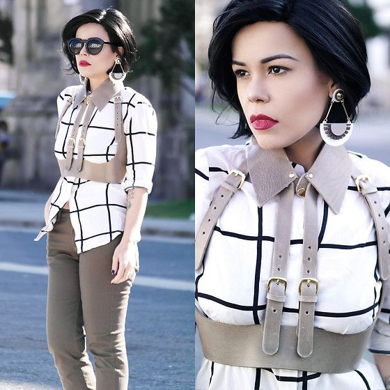 Get this look: http://lb.nu/look/8140493  More looks by Priscila  Diniz: http://lb.nu/prisciladiniz  Items in this look:  Plaid Top, Pants, Harness, Earrings   #edgy #minimal #street