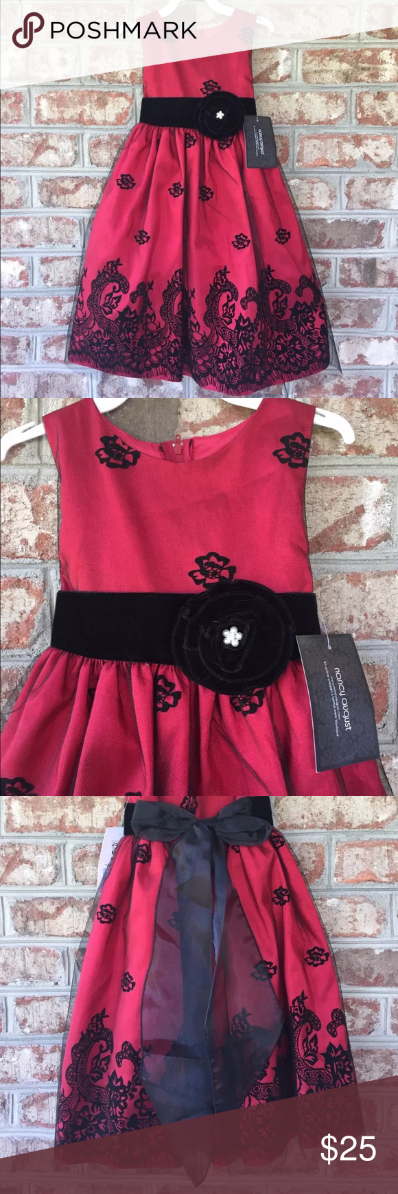 Crayon Kids Red Black Girls Party Dress Sz 4t Girls Party Dress New Party Dress Girls Night Dress [ 1740 x 580 Pixel ]
