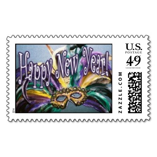 Happy New Year Postage Stamp. This is a fully customizable business card and available on several paper types for your needs. You can upload your own image or use the image as is. Just click this template to get started!