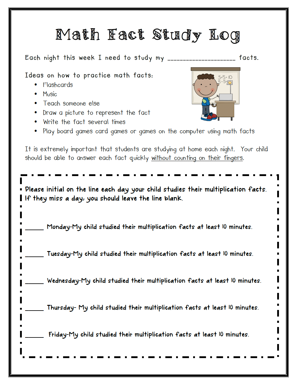 Worksheet Study Math Facts math fact study log teaching ideas pinterest facts and study