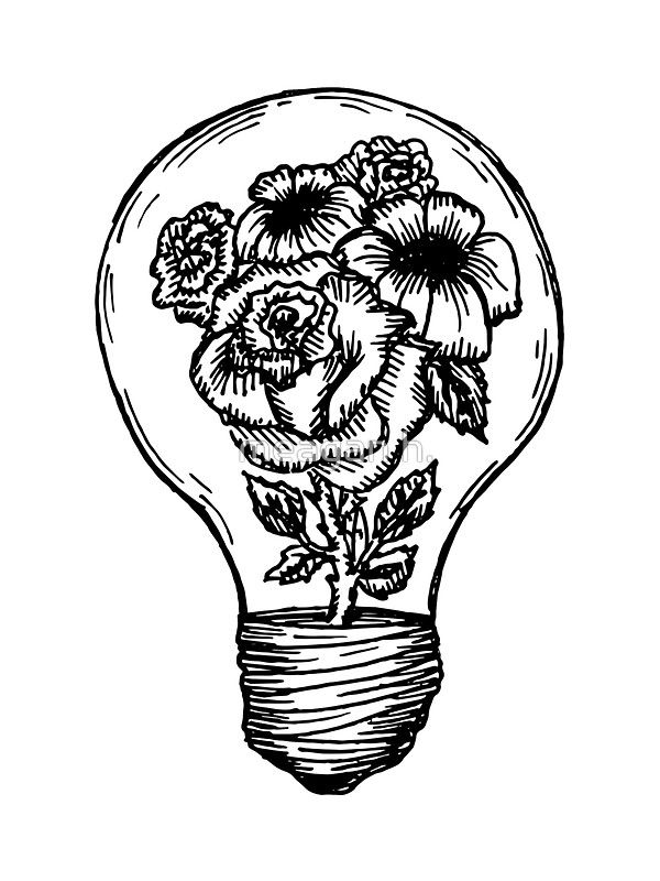 Flower Lightbulb Sticker By Meagan Hein Marquesan