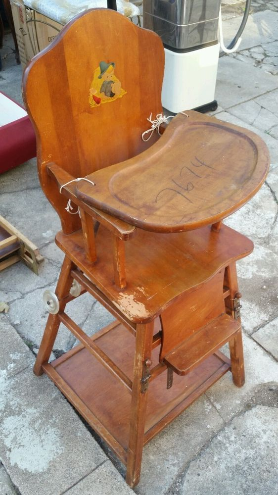 Vintage Mid Century Oak Wood Folding Baby High Chair By Storkline Antique