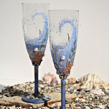 Beach Wedding Champagne Gles Toasting Flutes Hand Painted Set Of 2 Swarovski Pearls