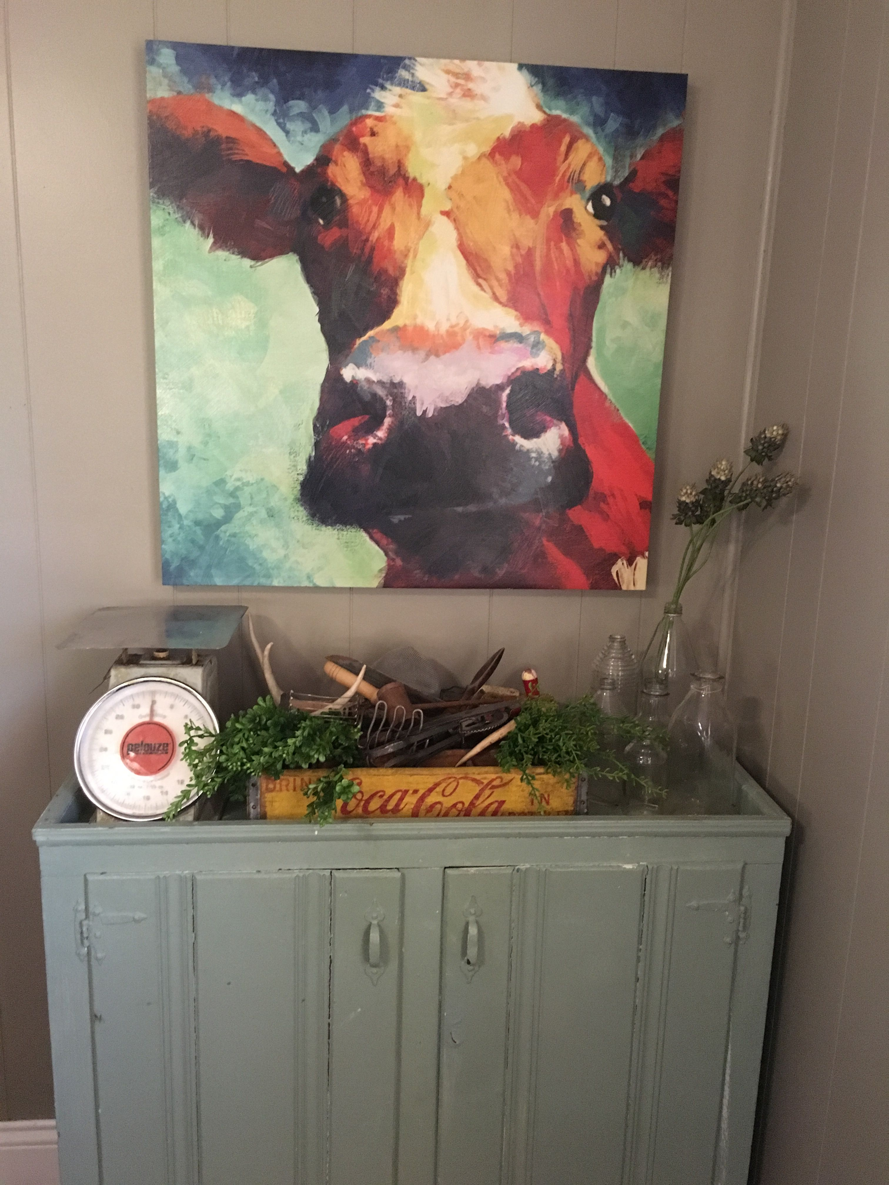 prodigious Cow Decorating Ideas Part - 6: Cow picture with farmhouse decor.