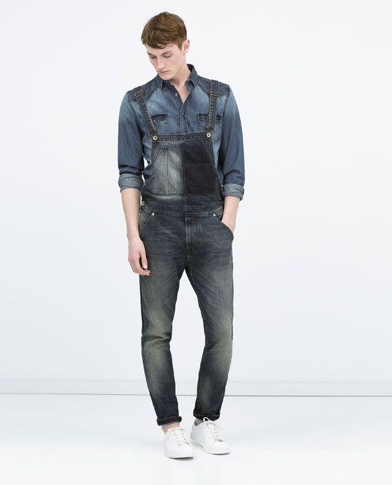 Veste en jean manche cuir homme zara