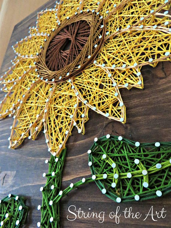 sunflower string diy kit - wall art - sunflower art   DIY Tutorials ...