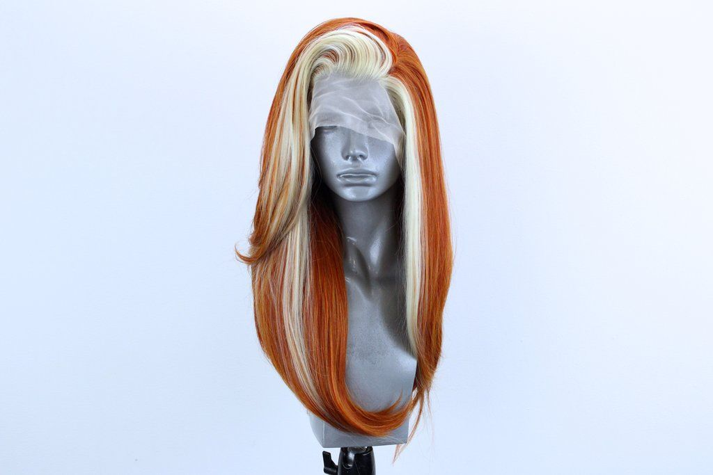 Lily Ginger Spice Blonde Streaks Ginger Hair Color Best Lace Front Wigs