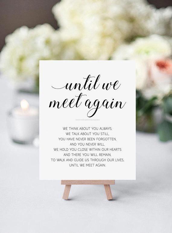 Memorial Sign – Printable Wedding Sign – Until We Meet Again – Alejandra