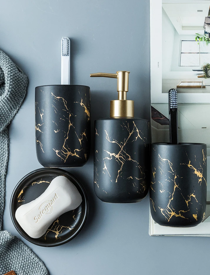 Black Gold Marble Style Ceramic Bathroom Accessory Kit Toothbrush Ho Hous Bathroom Accessories Luxury Bathroom Accessories Sets Marble Bathroom Accessories