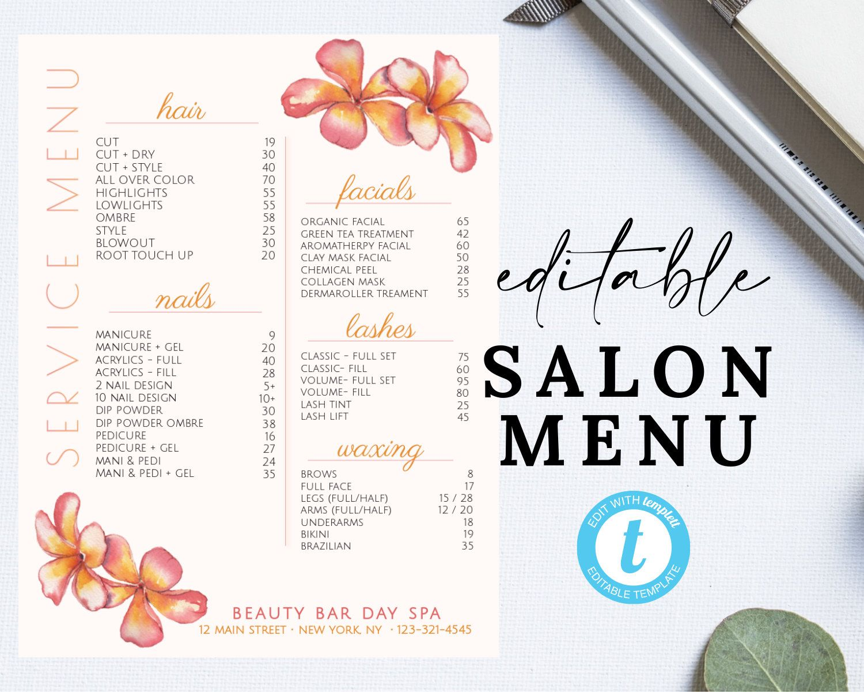 Editable Salon Menu Printable Price List, Template for