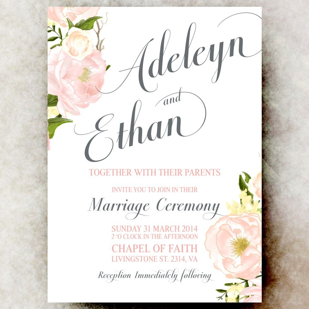 Coral Grey wedding Invitation - Flower wedding invitation, printable ...
