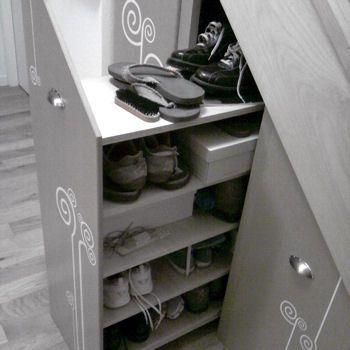 Meuble Rangement Chaussure Sous Escalier.Rangement Chaussures Sous L Escalier Dolaplar Rangement