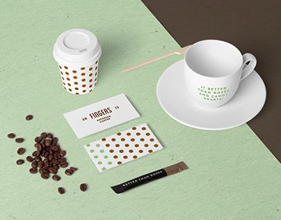 Coffee Branding / Stationery Mock-up based on professional photos. 50 different items. Easy to use with smart objects. Just open the psd file and place your design. Free font release coming soon.