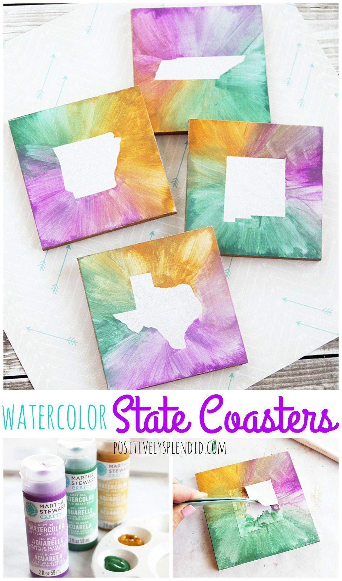 Diy Watercolor State Coasters Fun Diy Craft Idea Coaster