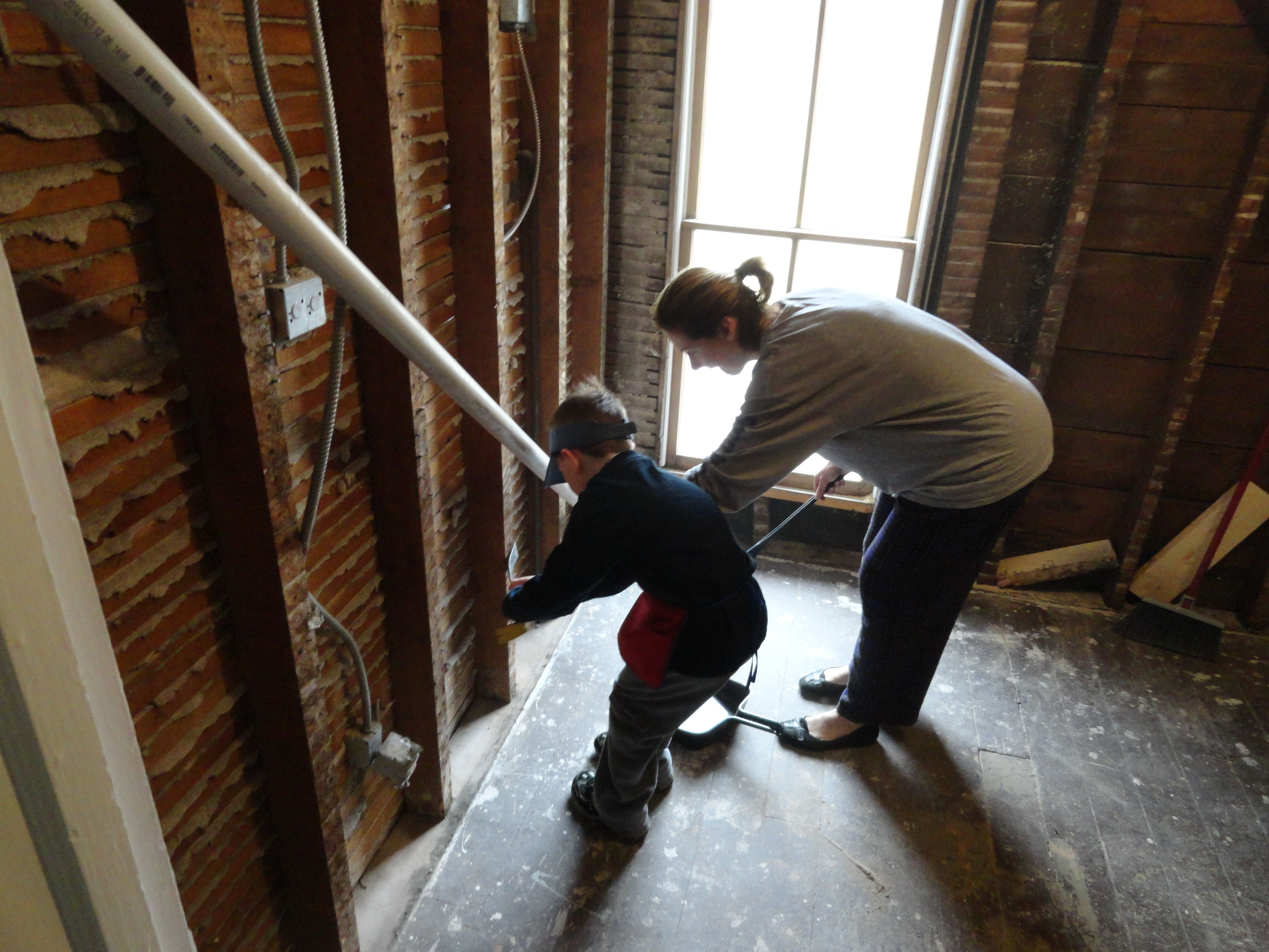 Alex And Mommy Pulling Old Lathe Nails Out Of The Studs During Our - Remodel bedroom into bathroom