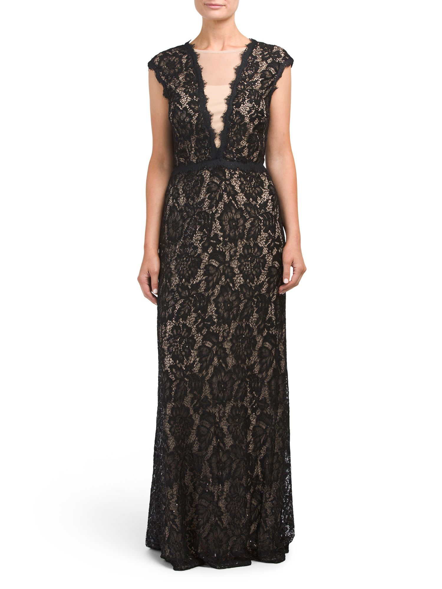 Too much cleavage wedding dress  Sleeveless All Over Lace Gown  Products  Pinterest  Products