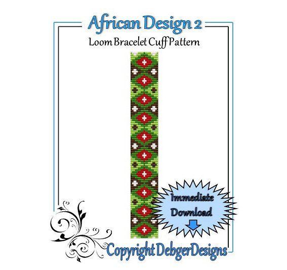 Diseño africano Patrón 2 Loom Pulsera para el brazo por LoomTomb en Etsy