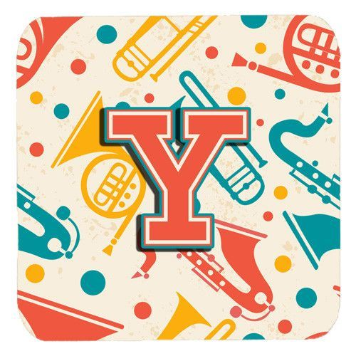 Set of 4 Letter Y Retro Teal Orange Musical Instruments Initial Foam Coasters CJ2001-YFC