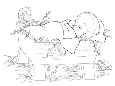Baby Jesus in a Manger Coloring page nativity printouts - new coloring pages of baby jesus in the stable