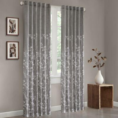 Madison Park Tunisia 84 Inch Cotton Window Curtain Panel In Grey