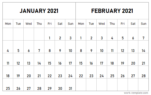 Two Month January February 2021 Calendar Template With ...