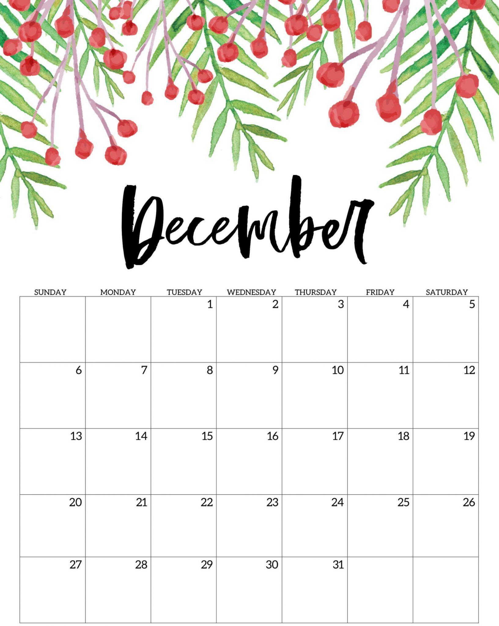 December Calendar 2020 Printable Blank Template With ...