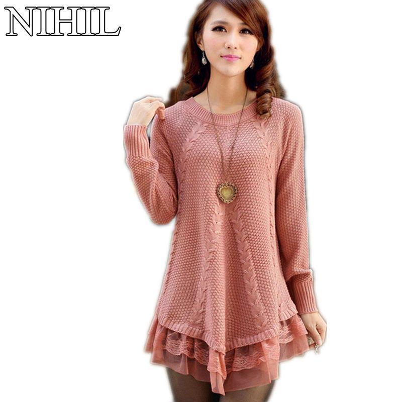 Women Sweater Dress Oversized Turtleneck Long-Sleeve Slim Knitted ...