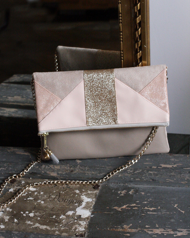 image of pochette clea nude et dor e piece unique bags pinterest bag purse and diy. Black Bedroom Furniture Sets. Home Design Ideas