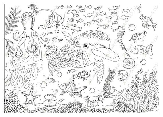 Underwater World Colouring Page Downloadable Page Coloring